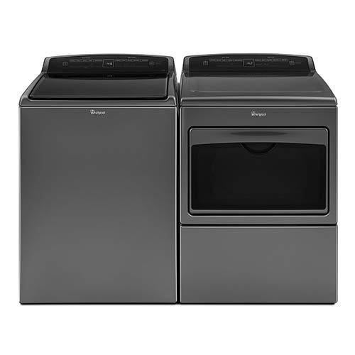 Whirlpool 4.8 Cu. Ft. Top-Load Washer and 7.4 Cu. Ft. Electric Dryer display image