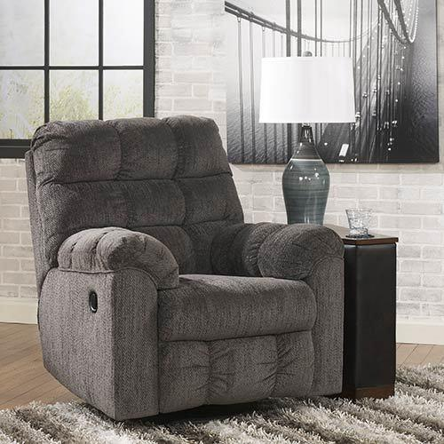 "Signature Design by Ashley ""Acieona-Slate"" Swivel Rocker Recliner display image"