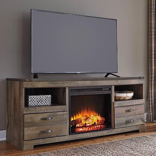 "Signature Design by Ashley ""Trinell"" 63 Inch Electric Fireplace TV Stand"