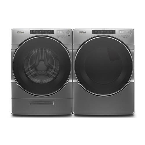 Whirlpool Chrome 4.5 Cu. Ft. Washer and 7.4 Cu. Ft. Gas Dryer  display image