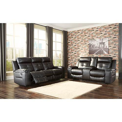 """Signature Design by Ashley """"Kempten-Black"""" Reclining Sofa and Loveseat"""