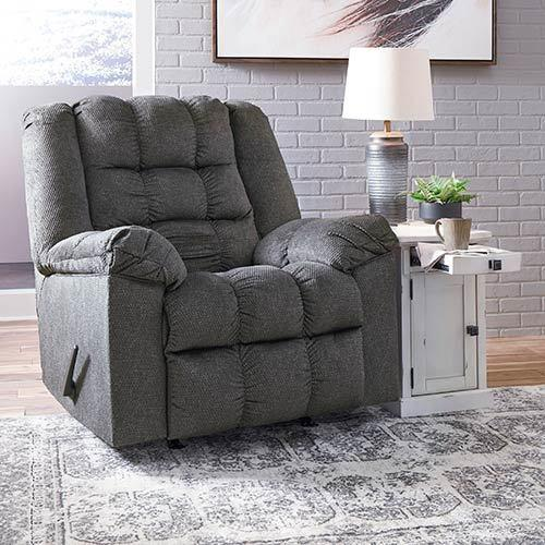 "Signature Design by Ashley ""Drakestone-Charcoal"" Heat and Massage Rocker Recliner"