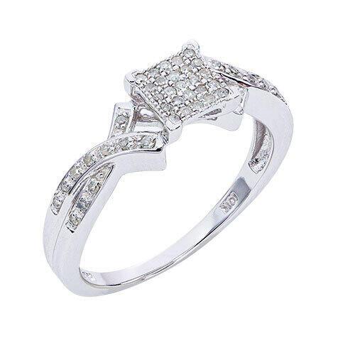 Womens 1/8 CT. T.W. Genuine Diamond Ring in 10K White Gold