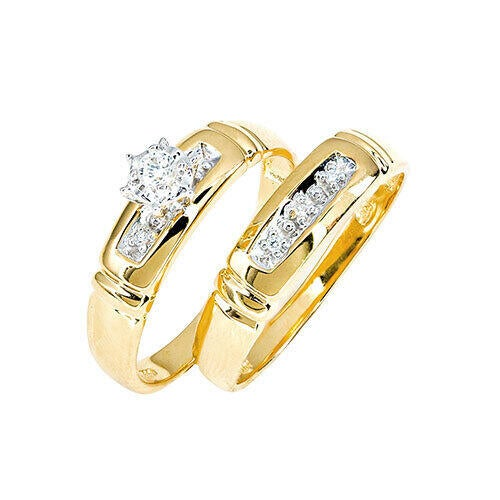 Womens 10K Gold Diamond Accent Engagement and Wedding Set
