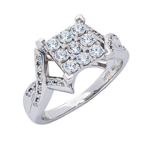 Womens 10K White Gold 3/4 CT.T.W. White Sapphire and Diamond Fashion Ring
