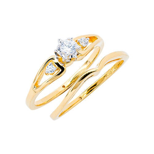 Womens 10K White Gold 1/8 CT.T.W. Diamond Engagement and Wedding Set