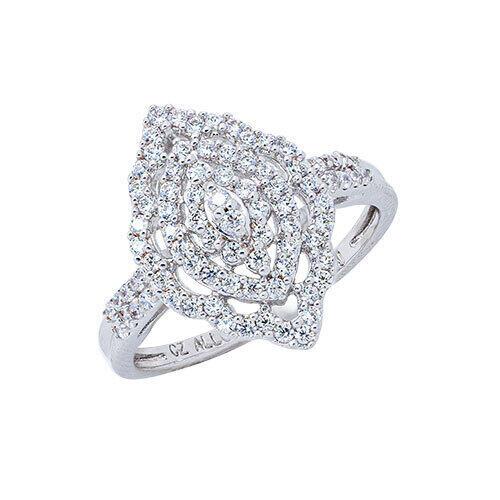 Womens 10K White Gold 3/8 CT.T.W. Diamond Fashion Ring