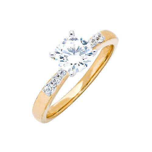 Womens 10K Gold 1.04 CT.T.W. White Sapphire Solitaire Ring