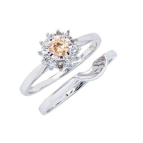 Womens 10K White Gold 1/4 CT.T.W. Genuine Brown Diamond Wedding Set
