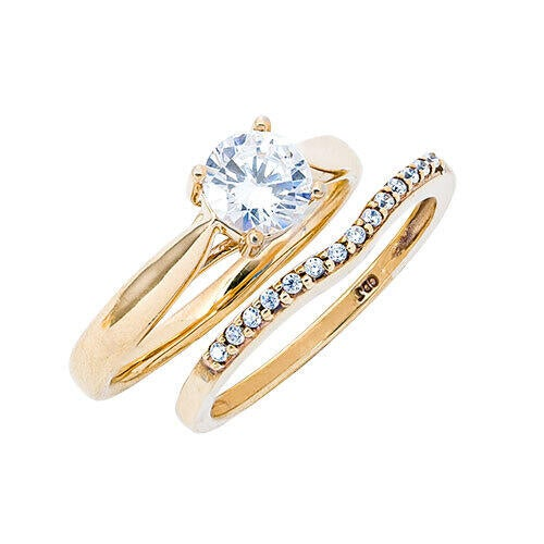 womens-10k-gold-34-cttw-lab-created-moissanite-and-diamond-wedding-set