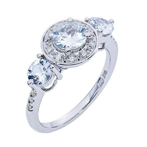 Womens 10K Gold 3/4 CT.T.W. White Sapphire and Diamond Fashion Ring