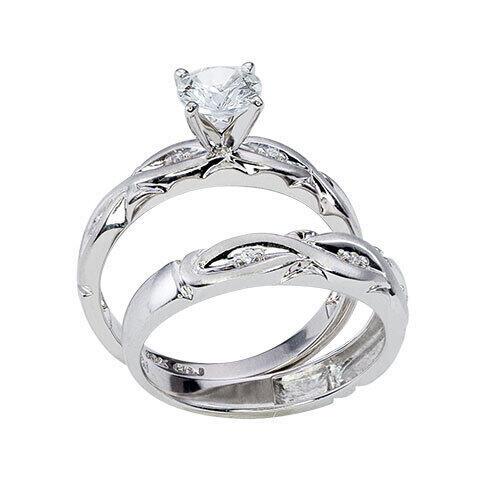 Womens 10K White Gold 9/10 CT. T.W. White Sapphire Wedding Set