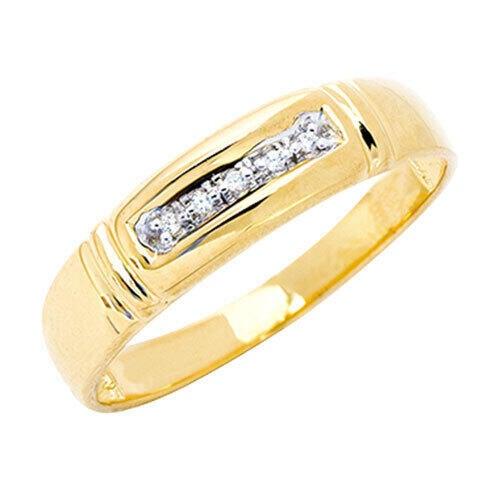 Mens 10K Gold Genuine Diamond Accent Ring