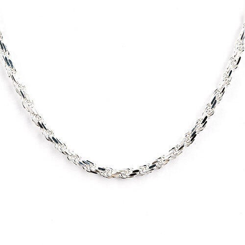 Sterling Silver 4.25mm Diamond Cut Rope Chain