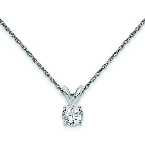 Womens 14K White Gold 1/4 CT.T.W. Round Lab-Created Diamond Solitaire Necklace