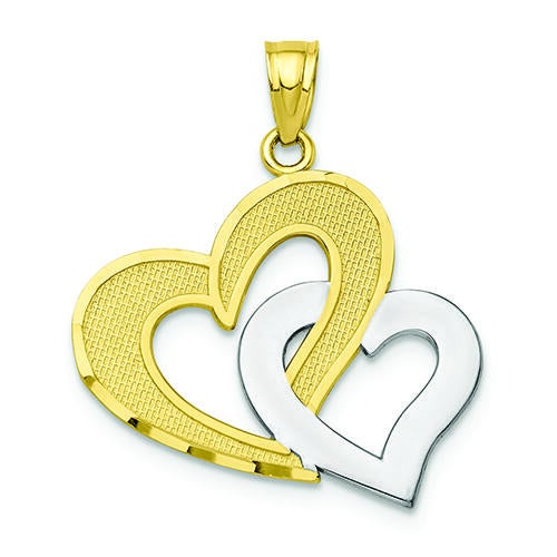 10K Gold and Rhodium Double Heart Pendant
