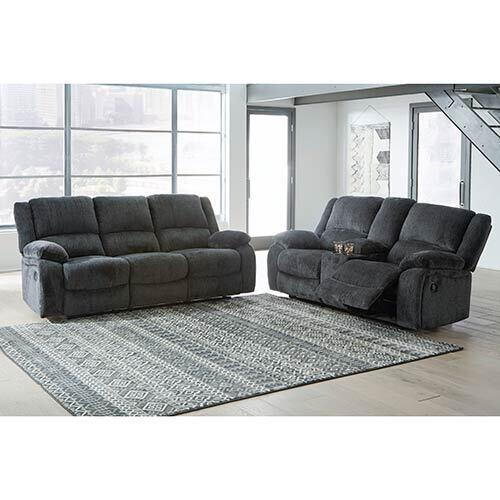 Signature Design by Ashley Draycoll Slate Reclining Sofa and Loveseat