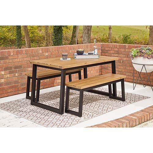 Signature Design by Ashley Town Wood Outdoor Dining Tables with Benches