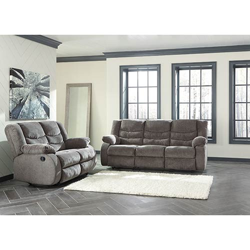 Signature Design by Ashley Tulen-Gray Reclining Sofa and Loveseat