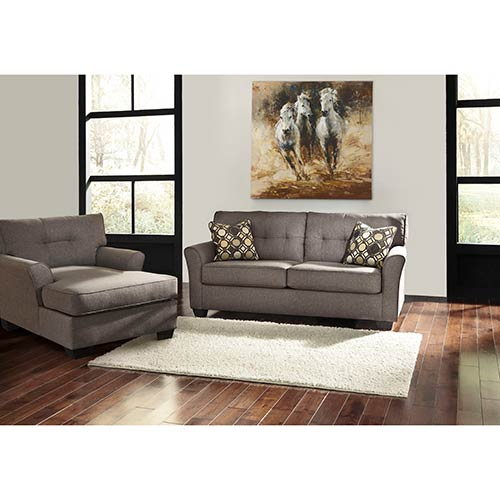 "Living Room Furniture Sales: Signature Design By Ashley ""Tibbee-Slate"" Sofa And Chaise"
