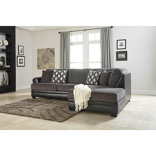 Benchcraft Kumasi-Smoke Sofa Sectional with Chaise