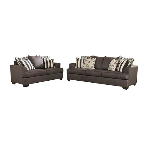 Signature Design By Ashley Levon Charcoal Sofa And Loveseat