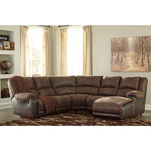 "Signature Design by Ashley ""Nantahala-Coffee"" 5-Piece Reclining Sectional"