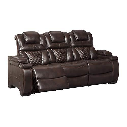 "Signature Design by Ashley ""Linebacker-Black"" Reclining Sofa and Loveseat"