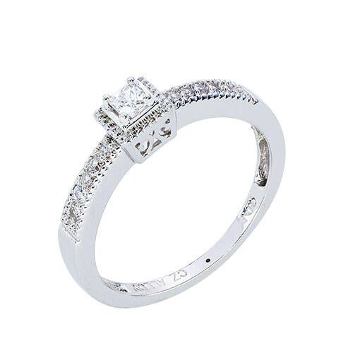 Womens 10K White Gold 1/5 CT.T.W. Diamond Solitaire Ring