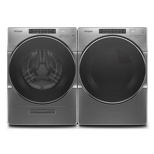 Whirlpool Chrome 4.5 Cu. Ft. Washer and 7.4 Cu. Ft. Electric Dryer  display image